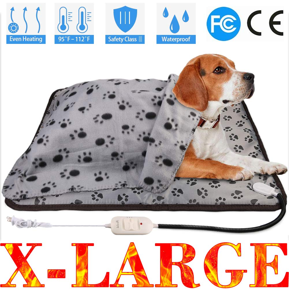 Waterproof Pet Heat Pad, Heat Mat for Pet, Dog Cat Pets Heating Pad Adjustable Pet Cushion Heat Pad with Temperature Controller and Chew Resistant Pet Heated Mat (28x23.6, X-Large Heating Pad)