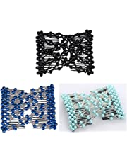 Casualfashion Pack of 3 Awesome Ez Stretching Combs, Hand-beaded Double Combs Hair Clips for Women Girls
