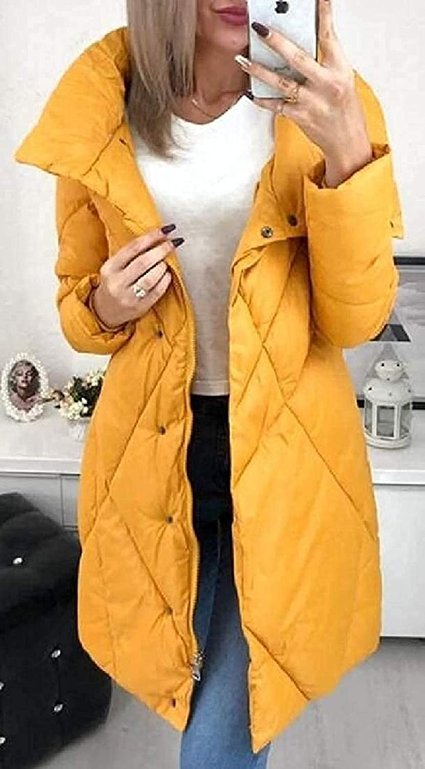 Women Ladys Stand Collar Outerwear Coat Slim Warm Quilted Down Jackets Yellow