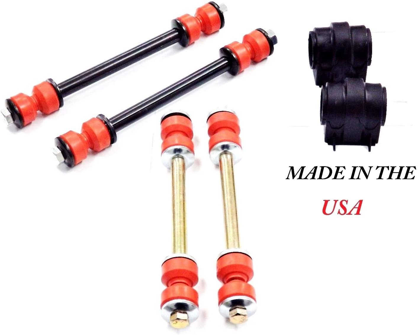 4PC Suspension Stabilizer LINKS /& Bar Bushing Kit Front K7275 K80080
