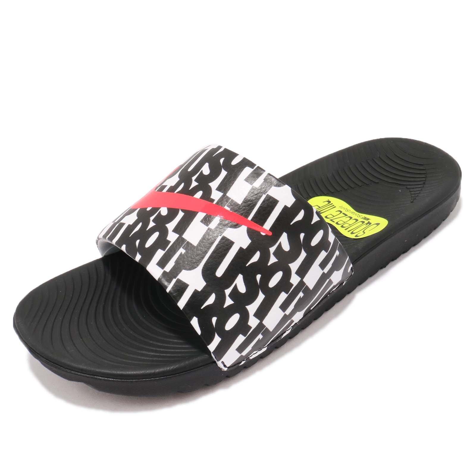 Nike Kid's Kawa Slide Print GS PS, Black/Bright Crimson-White, Youth Size 4