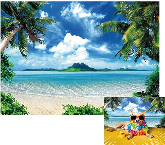 Blue Sky and SeaSand Beach Coconut Tree Backdrops 10x6.5ft Polyester Photography Backdrops Summer Holiday Intertropical Scenery Wedding Party Photo Protrais Artistic Studio Props