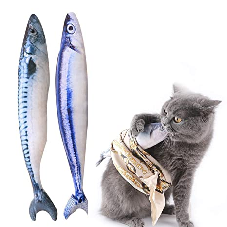 YAMI Juguete para gatos con hierba gatera Juguete de simulación de forma de pez de felpa