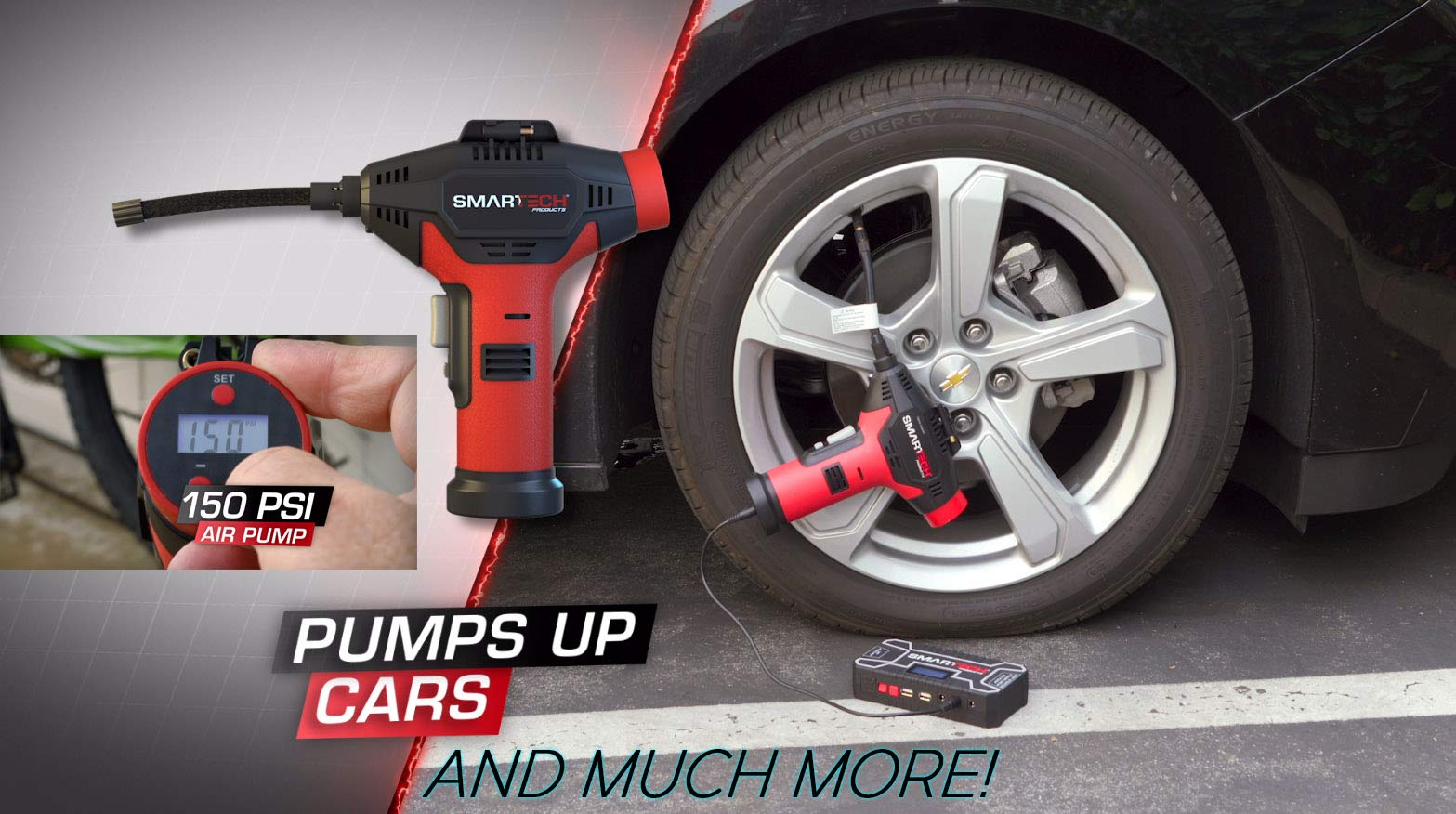 Smartech Power Kit Portable Jump Starter Power Bank Air Pump Tire inflator Air Compressor by Smartech Products (Image #6)