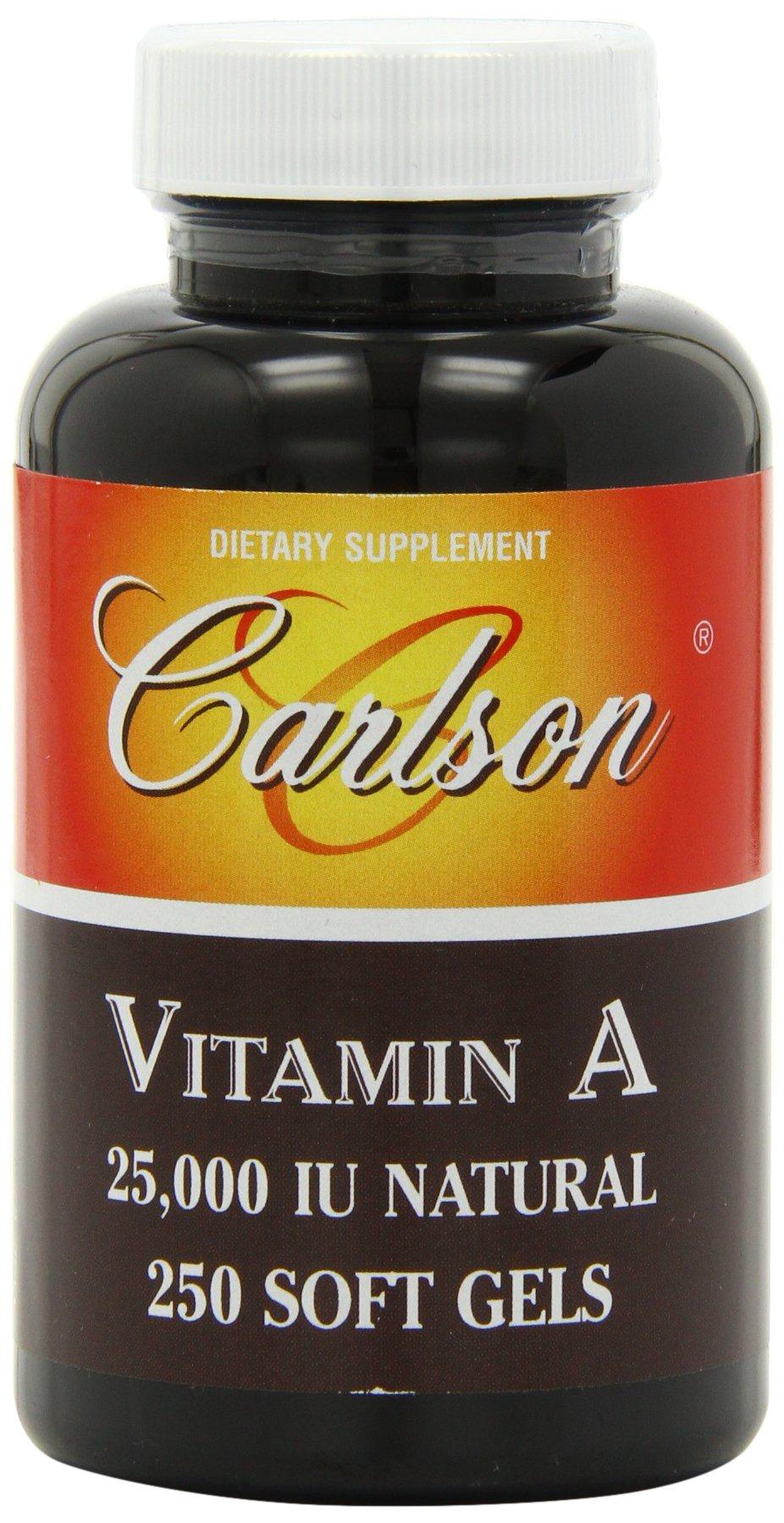 Carlson Labs Vitamin A Natural, 25000 IU, 250 Softgels by Carlson