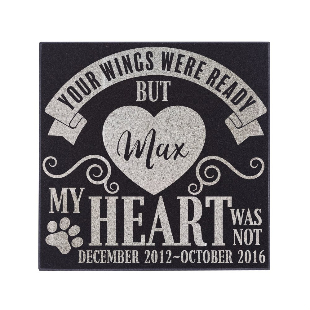 P Lab Personalized Granite Pet Memorial Stone Your Wings Were Ready Customized Tombstone - Loss of Pet Gift- Indoor Outdoor Dog or Cat For Garden Backyard 12'' x 12'' #15