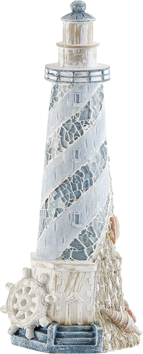 Delton Products 4272-0 Nautical Lighthouse 4 x 11 Inch Resin Stone Tabletop Figurine, Blue and White