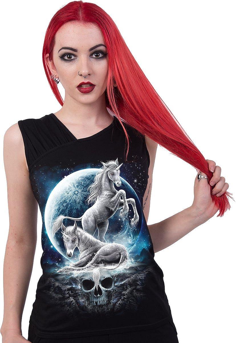 Spiral Womens Baby Unicorn Gathered Shoulder Vest Top Black