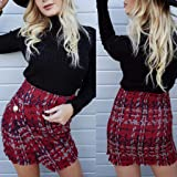 Women Check Plaid Short Bodycon Skirt Ladies High