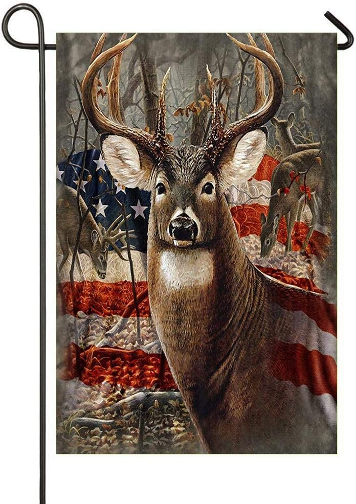 HOOSUNFlagrbfa Americana Flag Deer Garden Flag House Flag, Decorativ Indoor Outdoor Home Flag for Happy Decoration