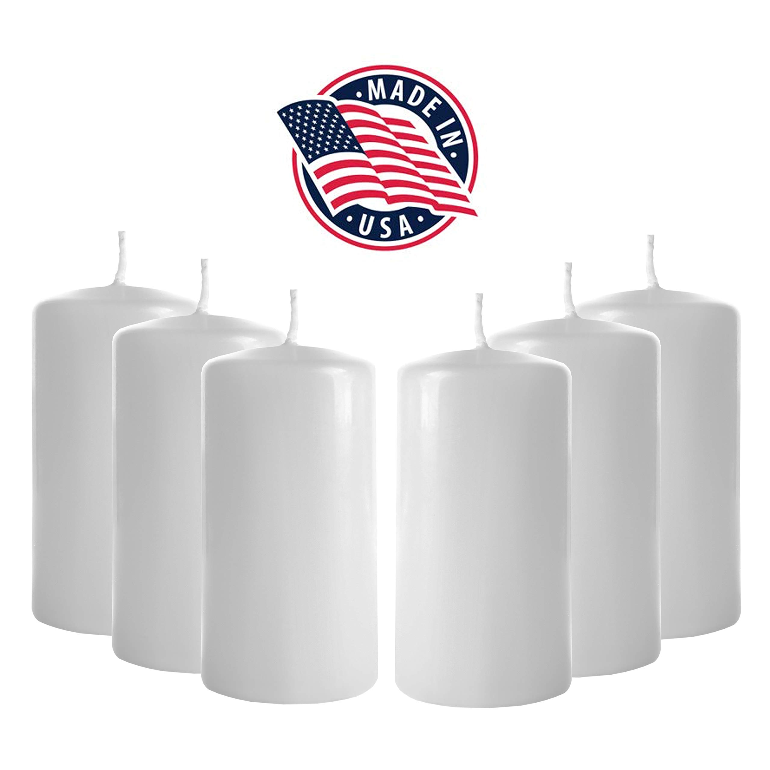 Pillar Candles 3 x 6 - Set of 6 White Candles - Unscented Pillar Candles Bulk - Tall Pillar Candles for Wedding, Party, Restaurant, Spa, Bath, Massage Therapy, Religious Ceremony, Holiday (White)