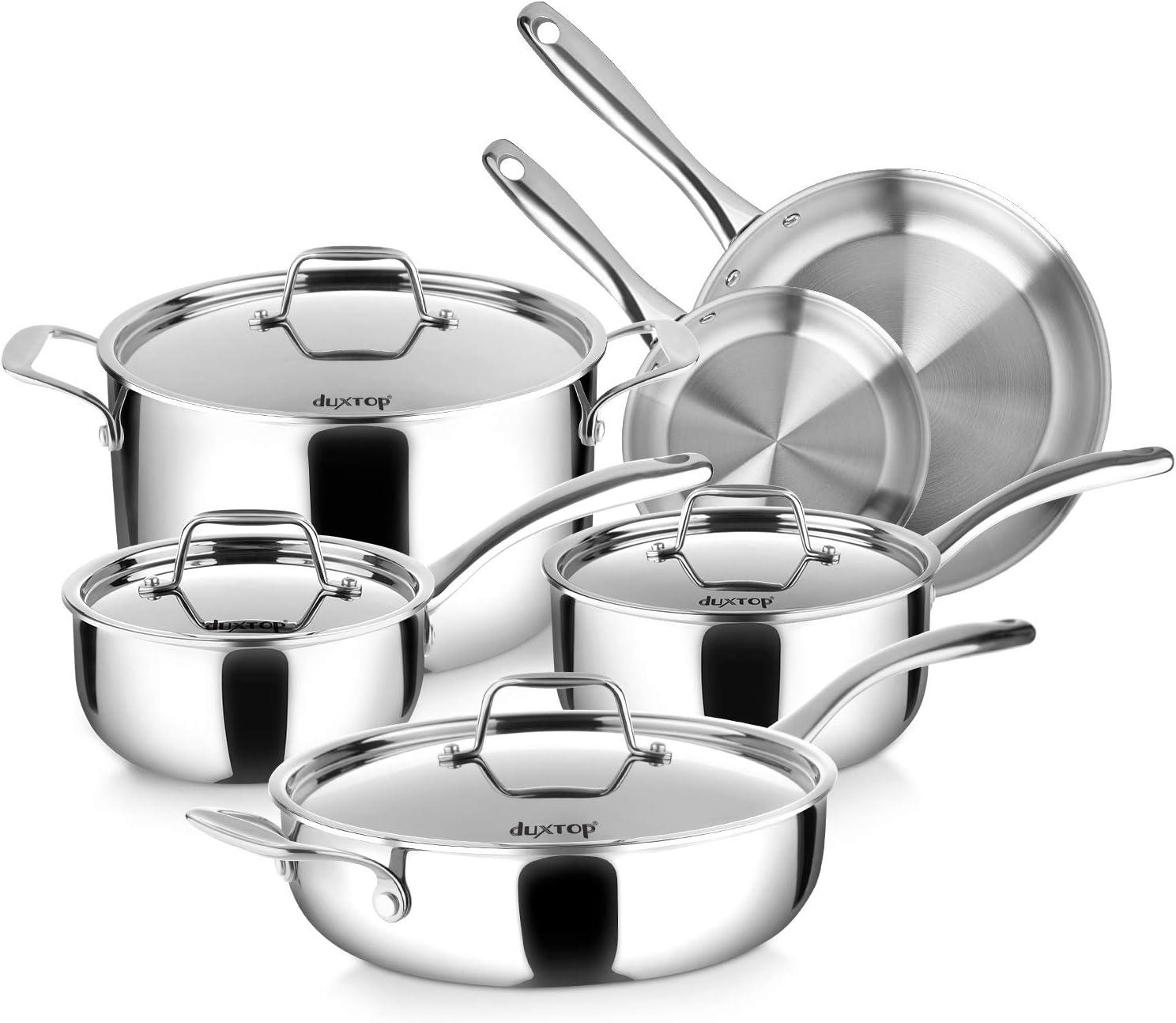 10pc roestvrij staal kookgerei keuken koken set pot pannen