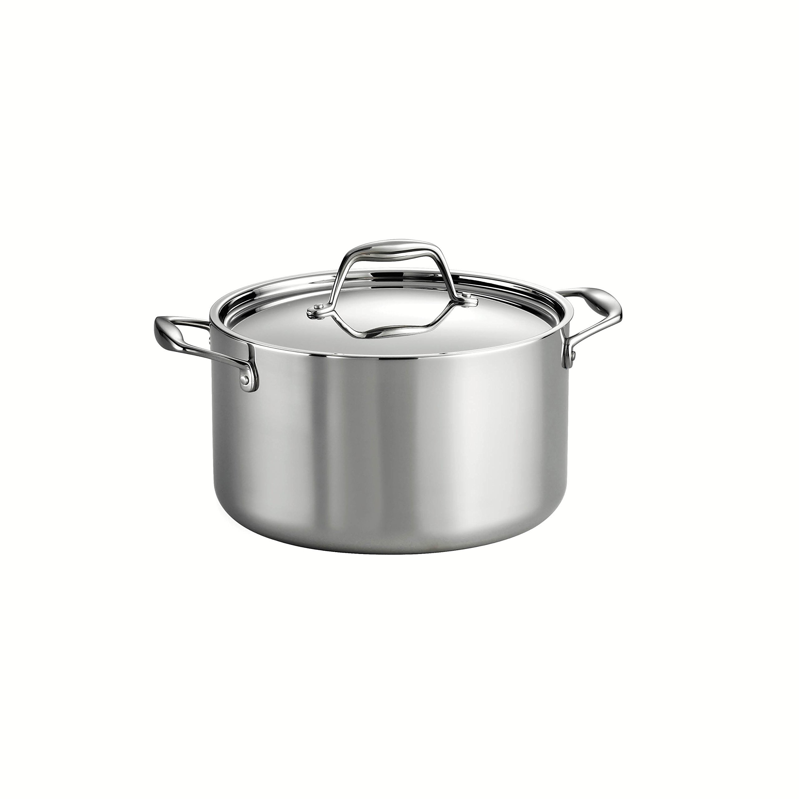 Tramontina 80116/040DS Gourmet Stainless Steel Induction-Ready Tri-Ply Clad Covered Sauce Pot, 6-Quart, NSF-Certified, Made in Brazil