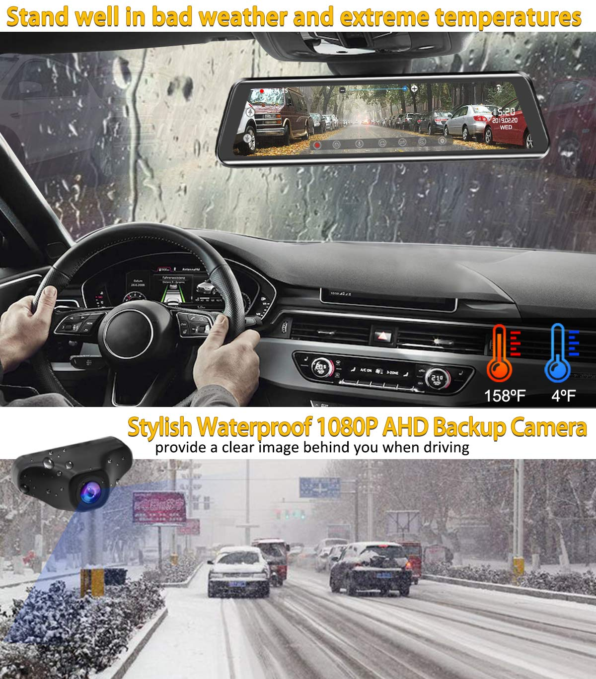Mirror Dash Cam 9.88 inch Full Touch Screen Car Backup Camera Dual Recording HD Front 1080P 170° Wide Angle 1080P Rear View Camera 150° URVOLAX Night Vision,24-Hour Parking,GPS, SD Card by URVOLAX (Image #5)