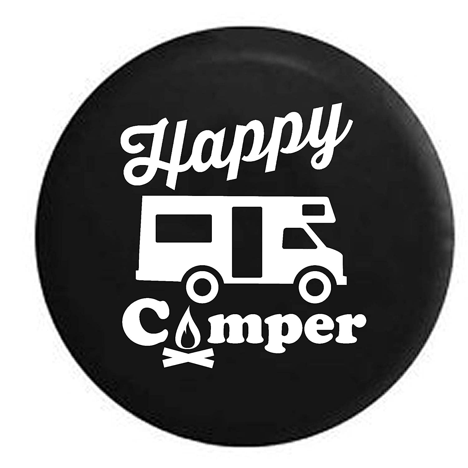 Pike Happy Camper Camp Fire Recreational Vehicle Trailer RV Spare Tire Cover OEM Vinyl Black 30-31 in