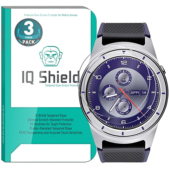 IQ Shield Glass Screen Protector Compatible with ZTE Quartz (SmartWatch)(3-Pack) Clear Tempered Ballistic Glass HD and Transparent Shatter-Proof ...
