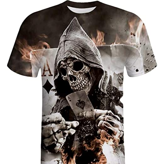 f879c7203 Amazon.com: WYTong Hot Sale Mens Poker Skull 3D Graphic Print T Shirt Short  Sleeve Cotton Summer Tees for Teen Boy: Clothing