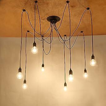 NetBoat Suspension Induistrielle Vintage Rétro Lustres 8 Lampe Plafonnier  Luminaire Pendentif pour Éclairage Salon Salle Chambre 5fb98919c1e4