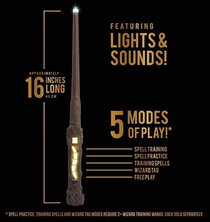 Harry Potter, Wizard Training Wand - 11 SPELLS To Cast Official Toy Wand  with Lights & Sounds – Albus Dumbledore Wand & Lord Voldemort Wand Also