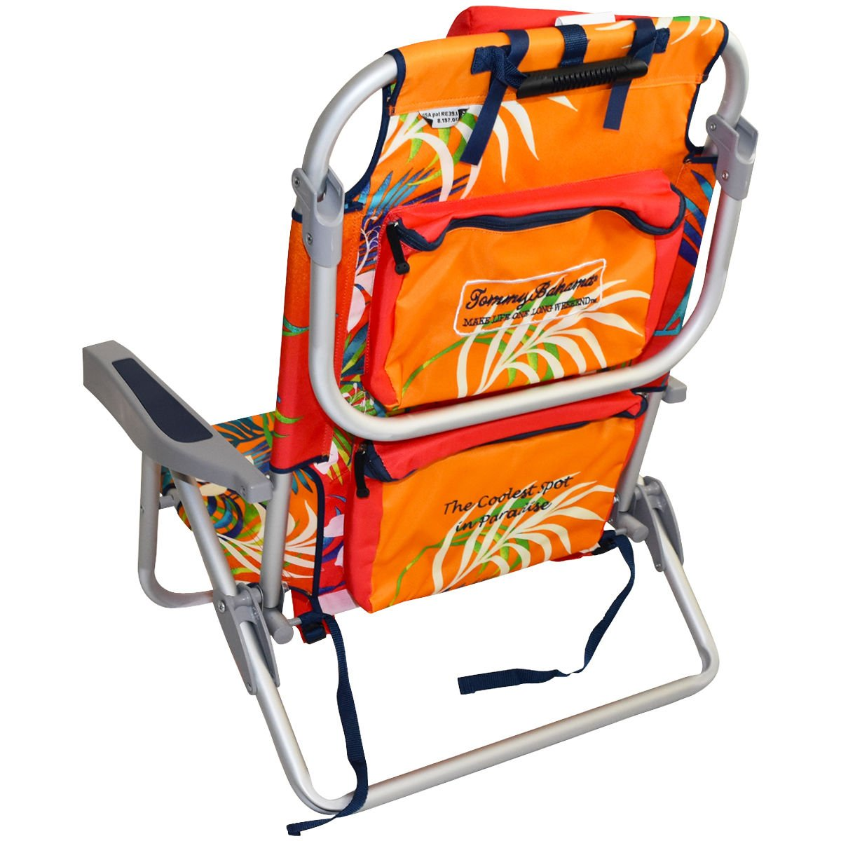 2 Tommy Bahama 2016 Backpack Cooler Chair with Storage Pouch and Towel Bar (Orange/Red & Orange/Red) by Tommy Bahama (Image #4)