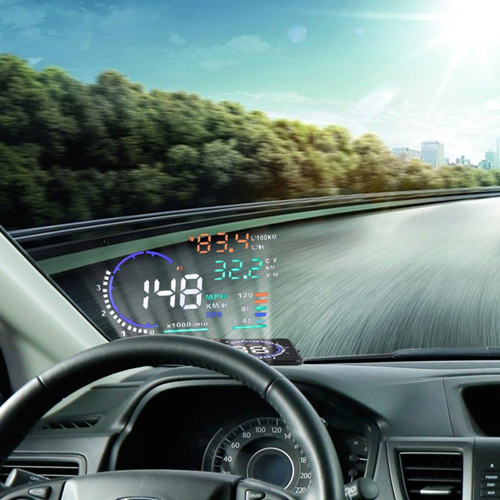 5.5'' HUD Head Up Display Multi-color Windshield Screen Projector Vehicle Speed, Overspeed Alarm, Display Km/h MPH, OBDII/EUOBD Interface Plug