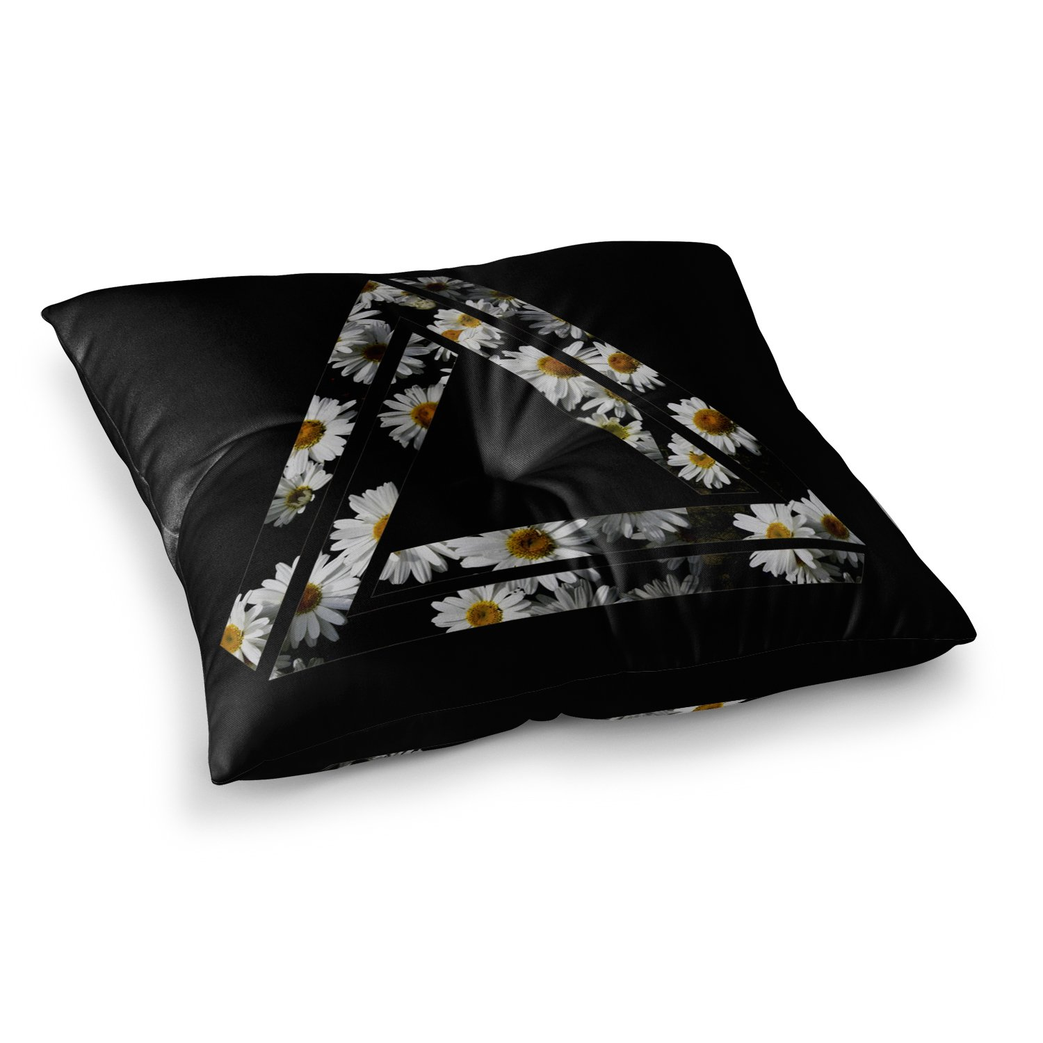 Kess InHouse Alias Impossible Daisy Chain Black Yellow 26 x 26 Square Floor Pillow