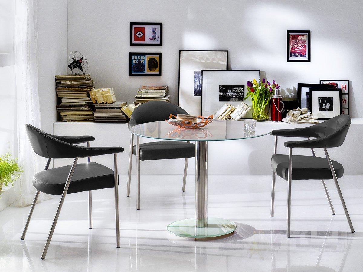 Robas Lund Tisch, Esszimmertisch, Glastisch, Falko, Weiß/verchromt ...