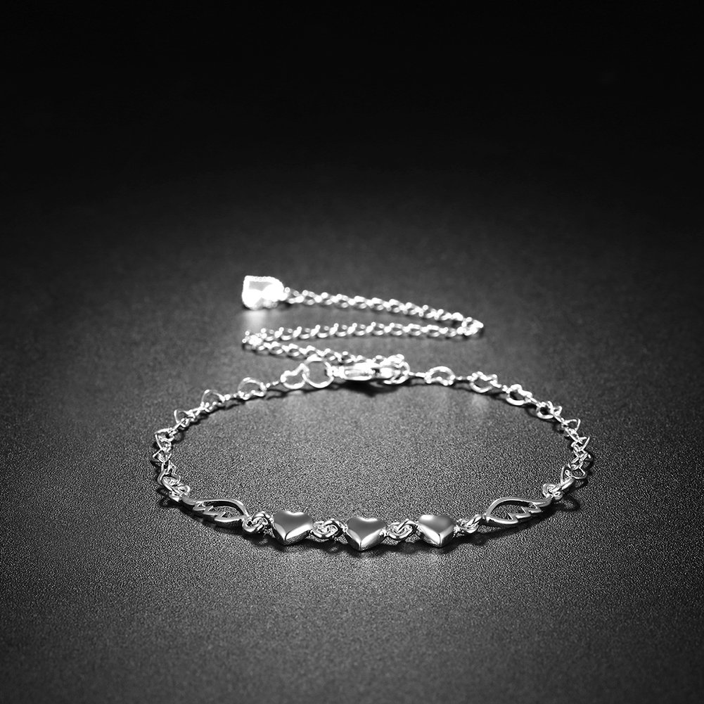 DUANMEINAD Fashion Jewelry 925 Sterling Silver Love Heart Angel Wings Adjustable Foot Ankle Bracelet Mothers Day Gifts