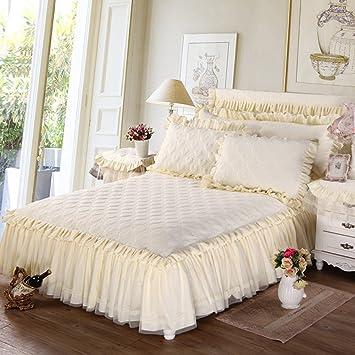 Tour de lit épaissir Coton Couvre lit Version Cœur Dentelle