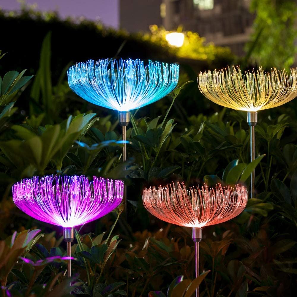 Neporal Solar-Garden-Lights-Outdoor-Decorative Solar Flowers Garden Lights Solar Powered IP65 Waterproof Fiber Optic Solar Stake Lights for Yard Patio Garden Pathway (4 Pack)
