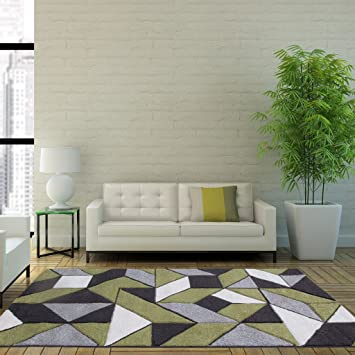 Terrific Rio Green Grey Geometric Tiles Mosaic Modern Design Living Room Area Rug 80Cm X 150Cm Home Interior And Landscaping Ologienasavecom