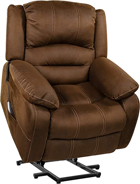 Amazon Com Ot Qomotop Lift Chair Lift Chair Recliner For Elderly Soft Fabric Design With Side Pockets Usb Ports Supports Up To 360 Lbs Brown Kitchen Dining