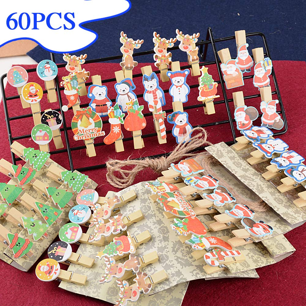 MEJOSER 60 PCS No/ël Pinces /à Linge Photo Clips Photo en Bois D/écor avec 6pcs Corde en Jute Accessoires dAlbums Photo