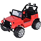 Costzon Kids Ride On Jeep Truck Car 12V2 Motor Remote Control Vehicle with LED Lights Music MP3, Red