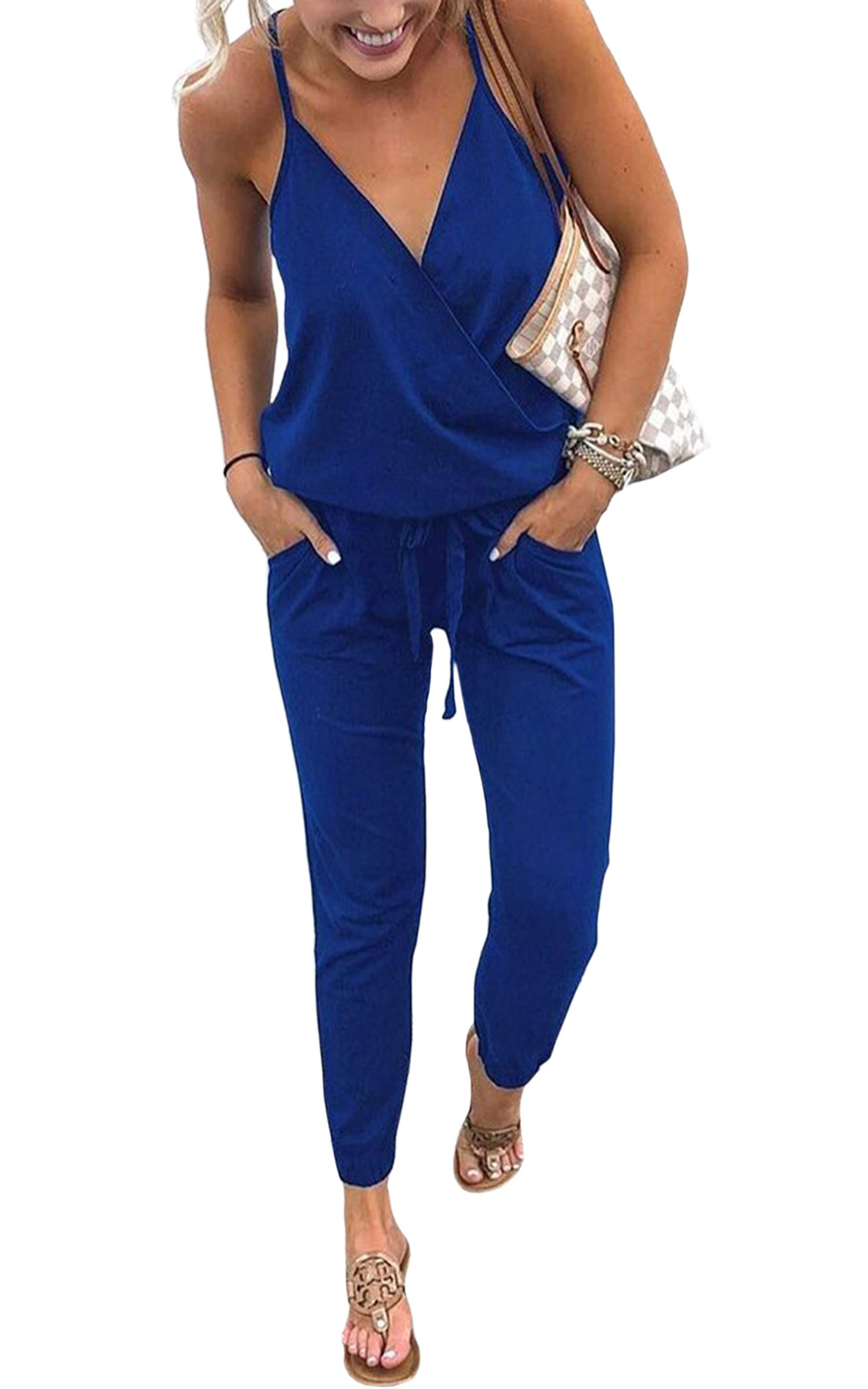 ECOWISH Women's V Neck Spaghetti Strap Drawstring Waisted Long Pants Jumpsuit Rompers Blue M