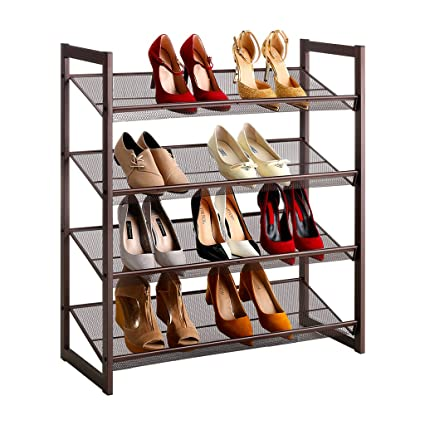 LANGRIA 4 Tier Metal Shoe Rack Utility Shoe Tower Shoe Organizer Shelf For  Closet Bedroom