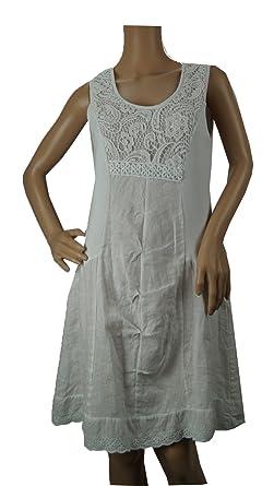 7386c45b09f Damen Frauen Leinenkleid in weiß