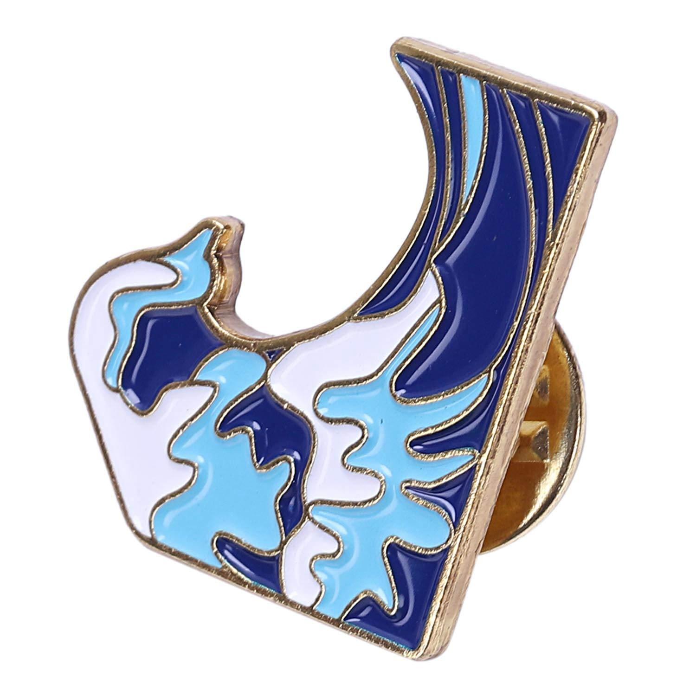 Cikuso Broche De Olas Azules Pin De Esmalte Hebilla Broche De Metal De Dibujos Animados para Abrigo Chaqueta Bolso Alfiler Placa Regalo De Joyas De Mar para Ni?os Ni?a Chico