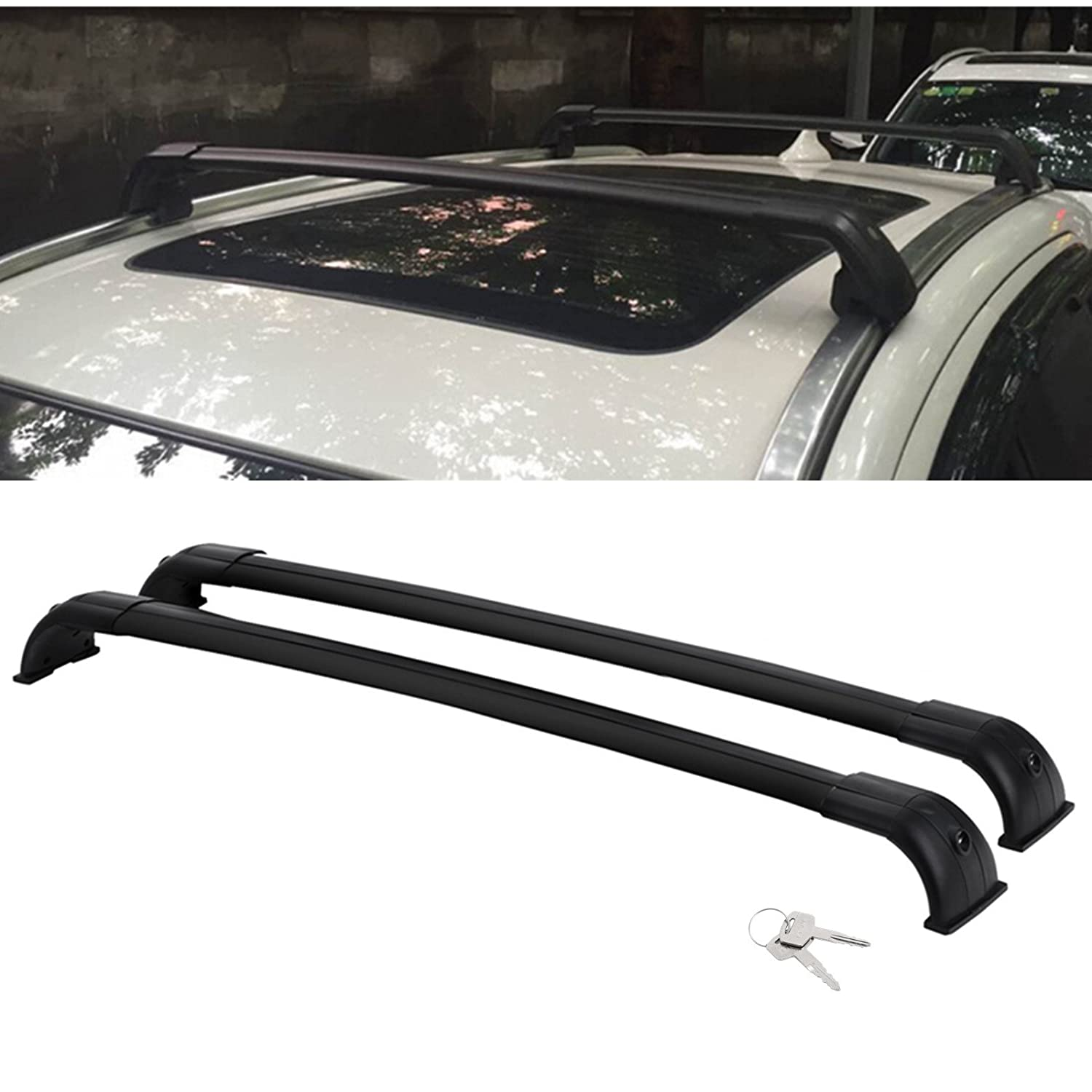 Mophorn Roof Rack Cross Bars Baggage Locking Roof Rail Crossbars Luggage Cargo Ladder Bike Load Roof Cross Bars Black (Land Rover LR3 LR4 Land Rover LR3 LR4 2005-2016 Black)