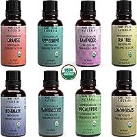 Mary Tylor Naturals Organic Essential Oils Set, Top 8 X 10 Ml Each, Usda Certified Lavender Peppermint Orange Lemongrass…