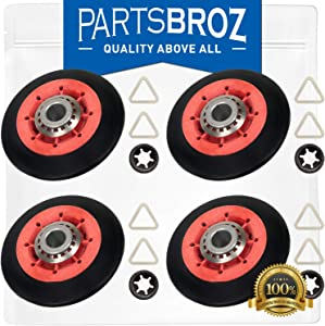 8536974 (4-Pack) Drum Support Roller for Whirlpool Dryers by PartsBroz - Replaces WPW10314173, AP6019303, W10314173, W10314171, 3388342, 3389902, 3396801, 3396802, 3401846, 8536973, PS11752609