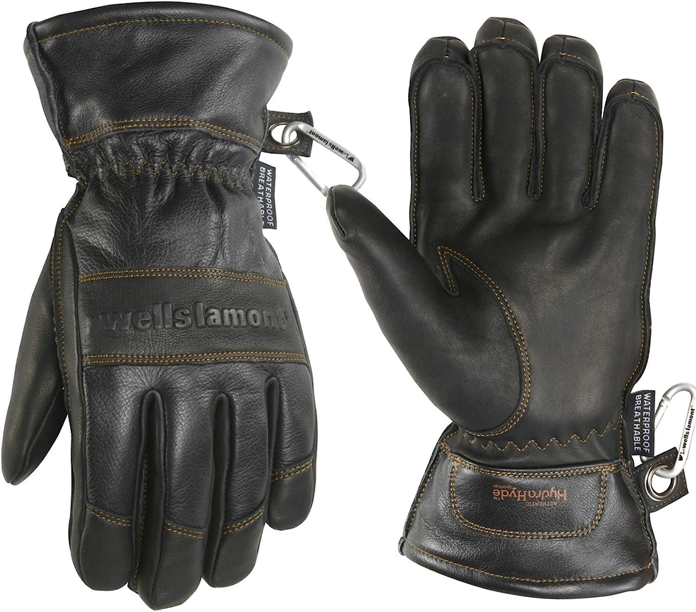 Wells Lamont 7664LK Mens Black HydraHyde Leather Winter Gloves Waterproof Insert