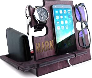 Personalized Gifts for Men, Cell Phone Stand, Wooden Desk Organizer, Phone Dock - Nightstand Charging Station, Phone Holder, Gift Ideas for Christmas, Birthday, Anniversary (Rosewood)
