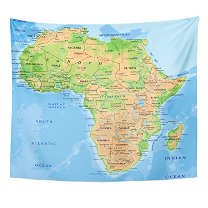 Map Of Africa Madagascar.Amazon Com Emvency Tapestry Madagascar High Detailed Africa