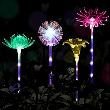 YUNLIGHTS 4pcs Solar Garden Lights Outdoor Garden Stake Lights Multi-color Changing LED Solar Lights with Purple LED Light Stake for Garden Patio Backyard Decoration (Lotus,Dandelion,Lily,Sunflower)