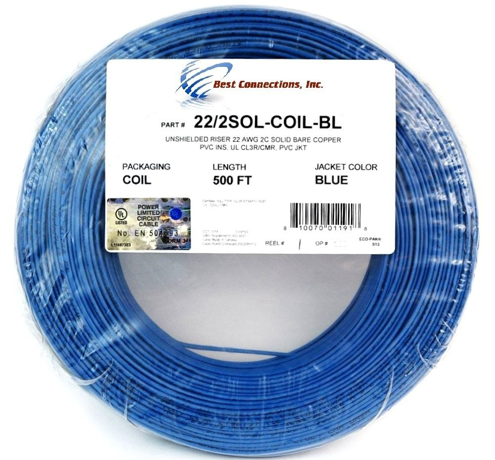 22 Ga Gauge 2 Conductor UL SOLID COIL PACK BLUE 500 FT Security ...