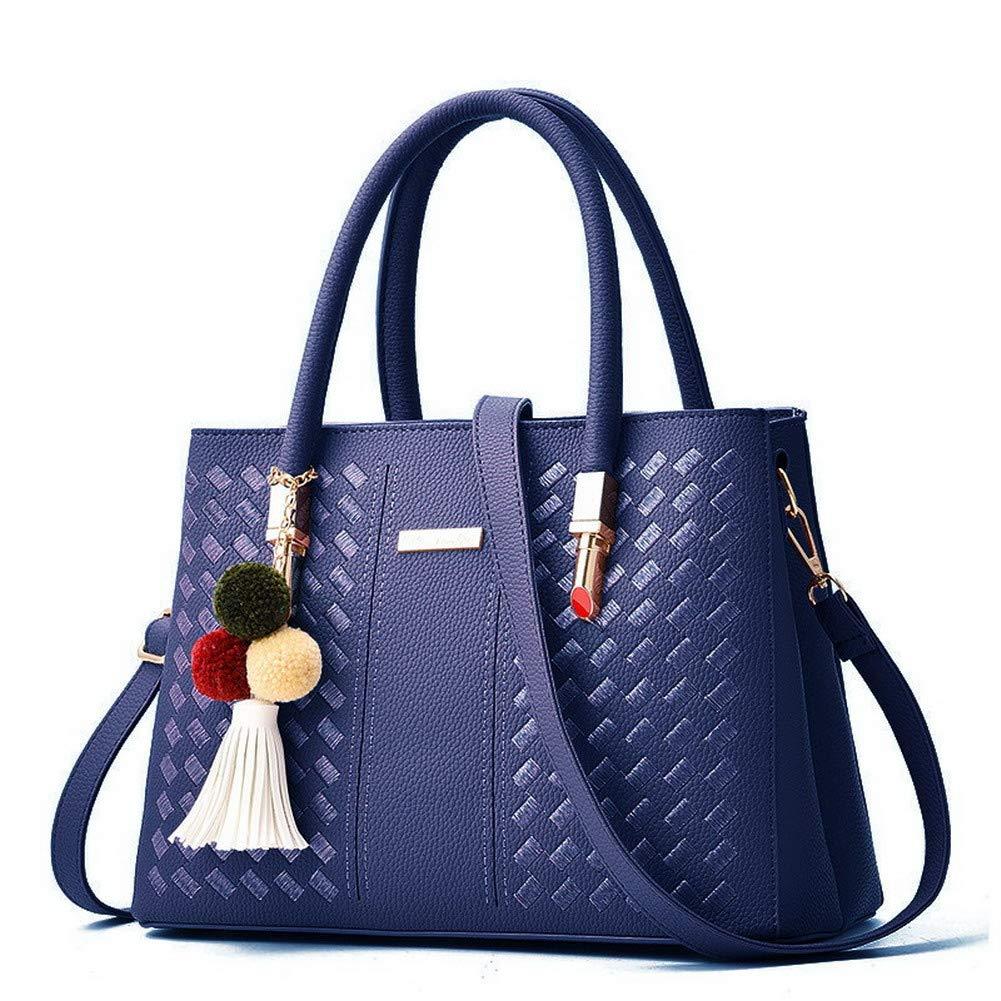 Darkbluee WeiPoot Women's Pu Crossbody Bags Shopping Fringe Shoulder Bags,EGHBG182026