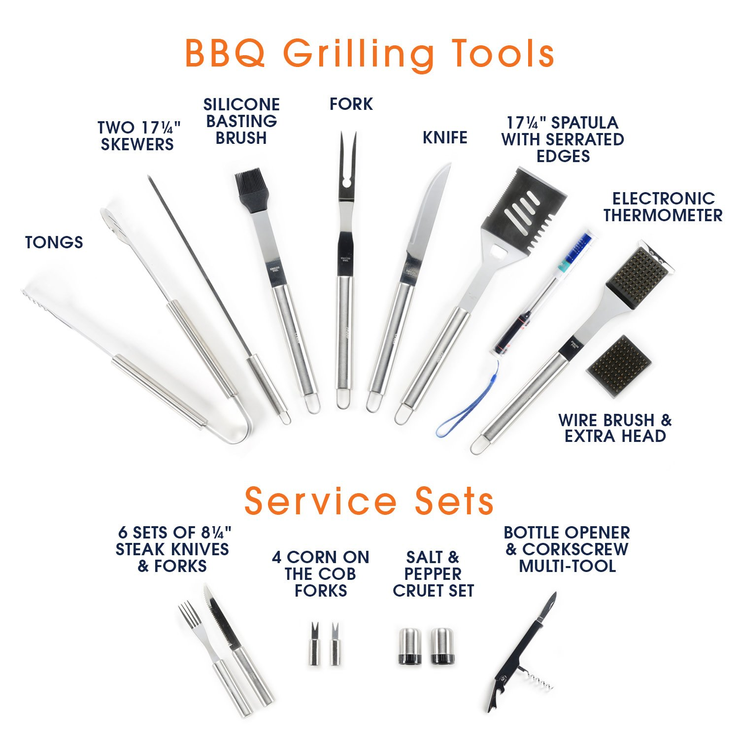 Includes 4-in-1 Spatula Turner 30 Piece BBQ Utensil Set Professional Grade Stainless Steel Barbecue Grill Tool Set with Aluminum Storage Case Tongs and Many Other BBQ Grilling Accessories Cheer Collection