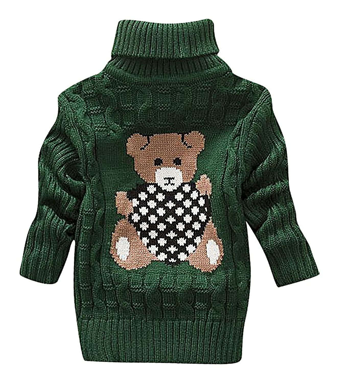 hot Sweety Kids' Cable & Rib Knit Bear Heart Print Full Sleeve Turtleneck Sweater