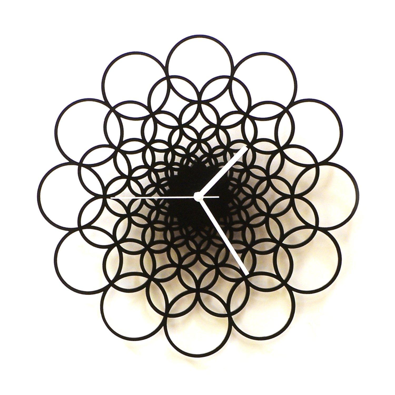 木製ウォールクロックRings 大きな モダンな幾何学時計、時代を超越したデザイン B06WD1CNNQ